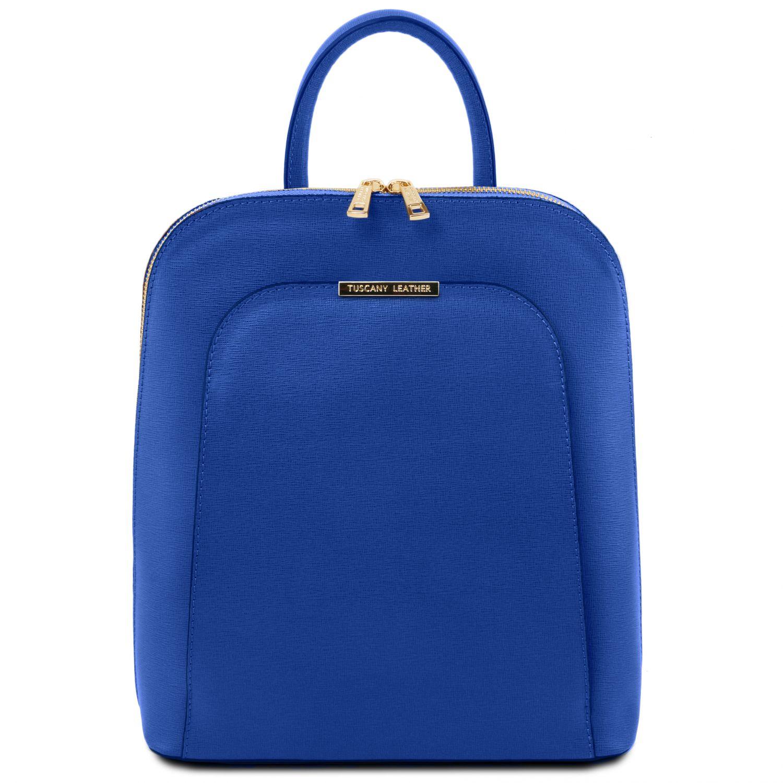 TL Bag - Dámský batoh z kůže Saffiano - Modrá barva