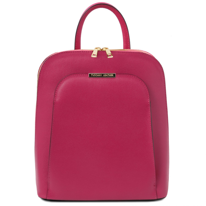 TL Bag - Dámský batoh z kůže Saffiano - Fuchsie barva