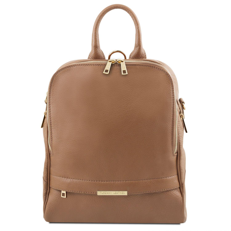 TL Bag - Dámský batoh z měkké kůže - Hnědošedá barva