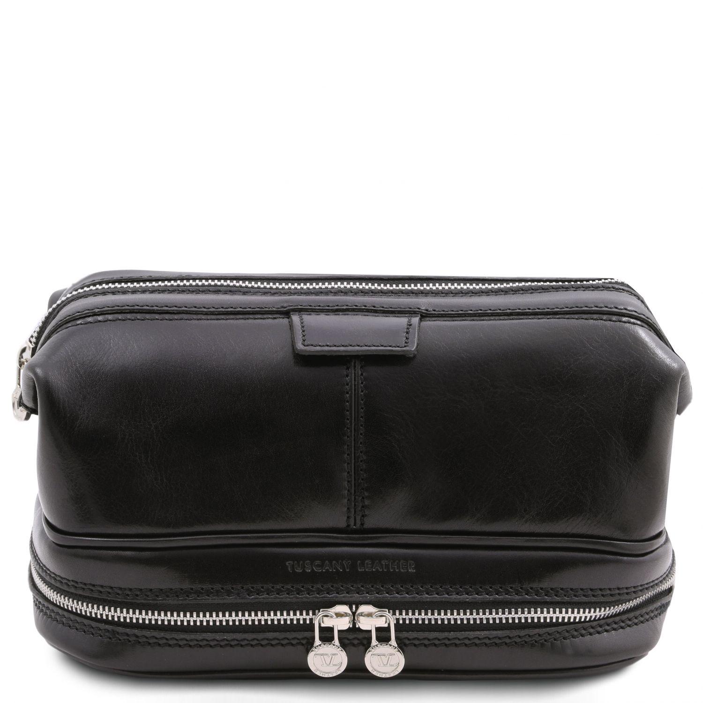 Patrick - Kožená toaletní taška - Černá barva