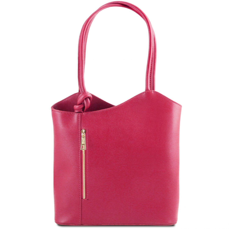 """Patty - Kožená variabilní taška """"Saffiano"""" s kombinovaným nošením - Fuchsie barva"""