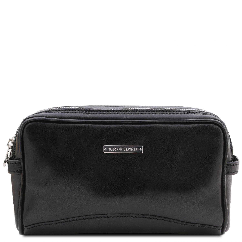 Igor - Kožená toaletní taška - Černá barva