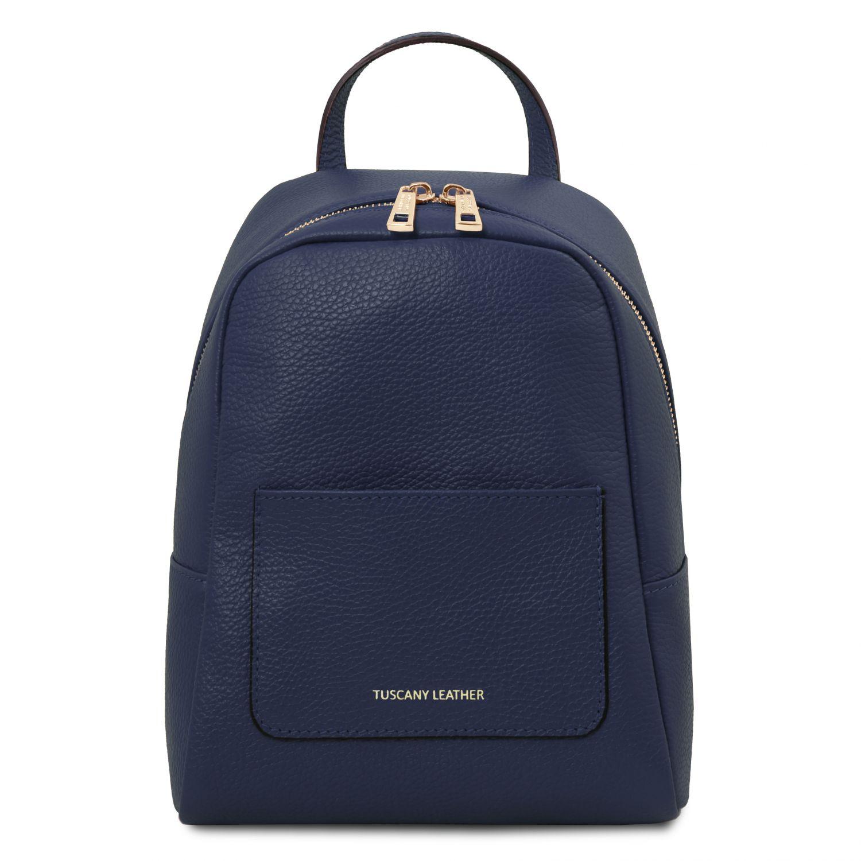 TL Bag - Dámský malý batoh z měkké kůže - Tmavě modrá barva