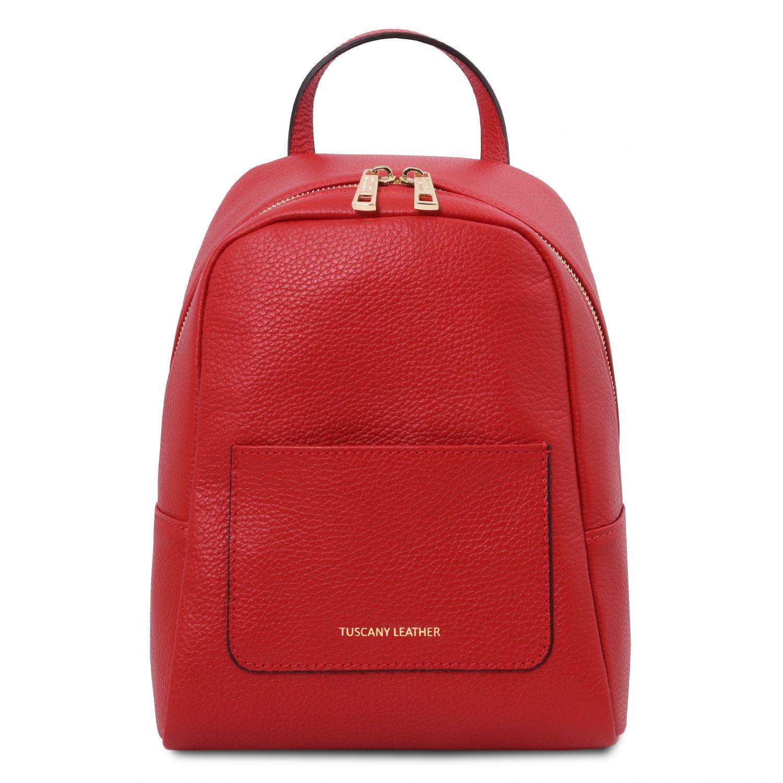 TL Bag - Dámský malý batoh z měkké kůže - Rtěnková červená barva