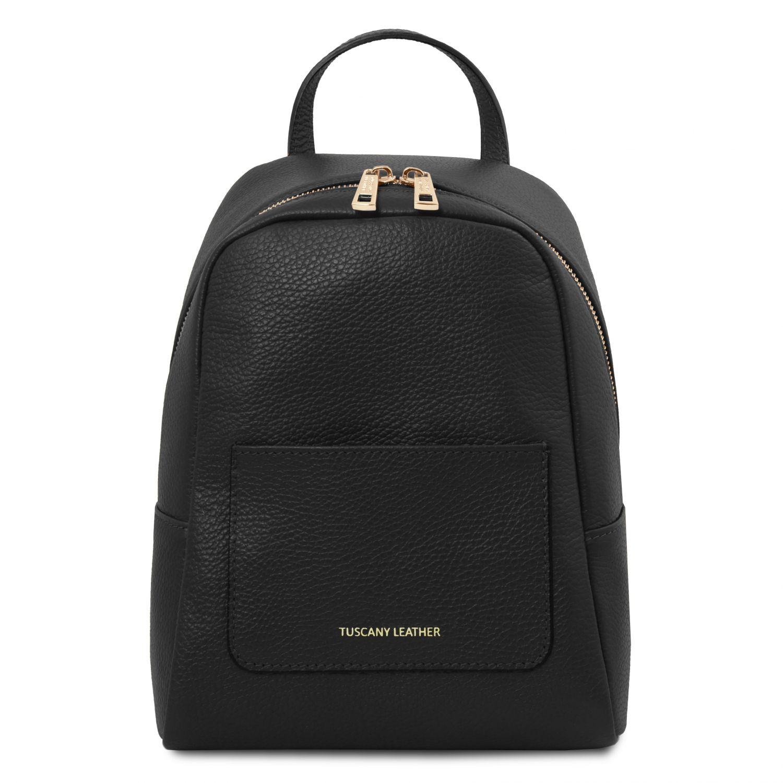 TL Bag - Dámský malý batoh z měkké kůže - Černá barva