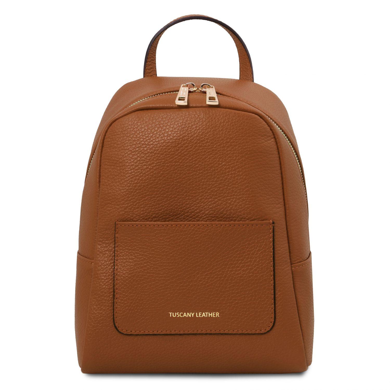 TL Bag - Dámský malý batoh z měkké kůže - Koňaková barva