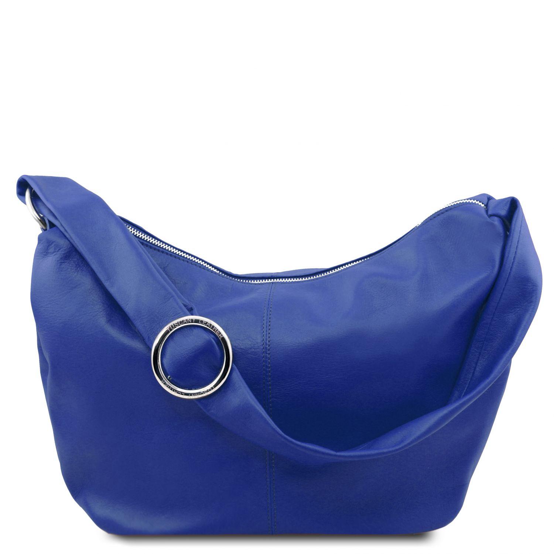 Yvette - Hobo taška z měkké kůže - Modrá barva