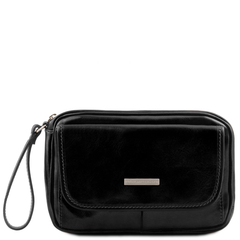 Ivan - Kožená pánská příruční taška na zápěstí - Černá barva