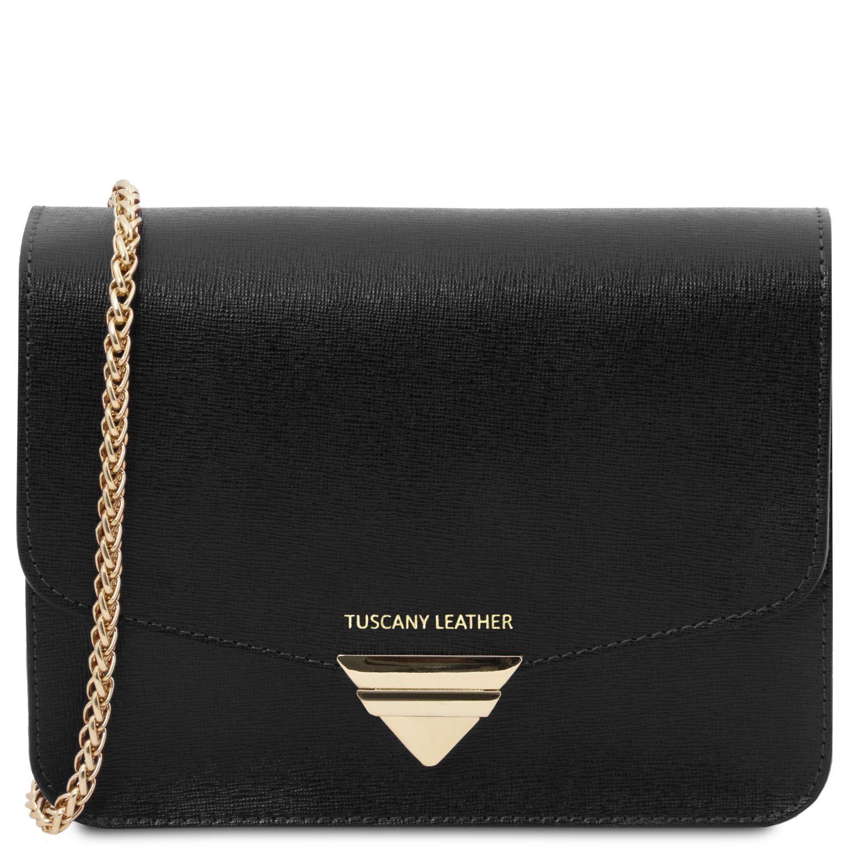 TL Bag - Psaníčko z kůže Saffiano s řetízkovým popruhem - Černá barva