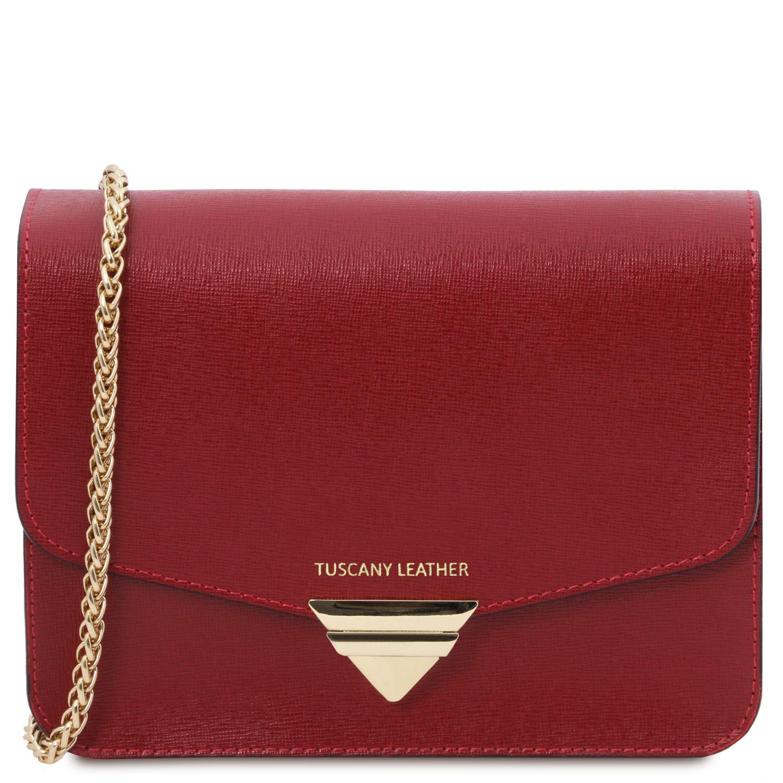 TL Bag - Psaníčko z kůže Saffiano s řetízkovým popruhem - Červená barva