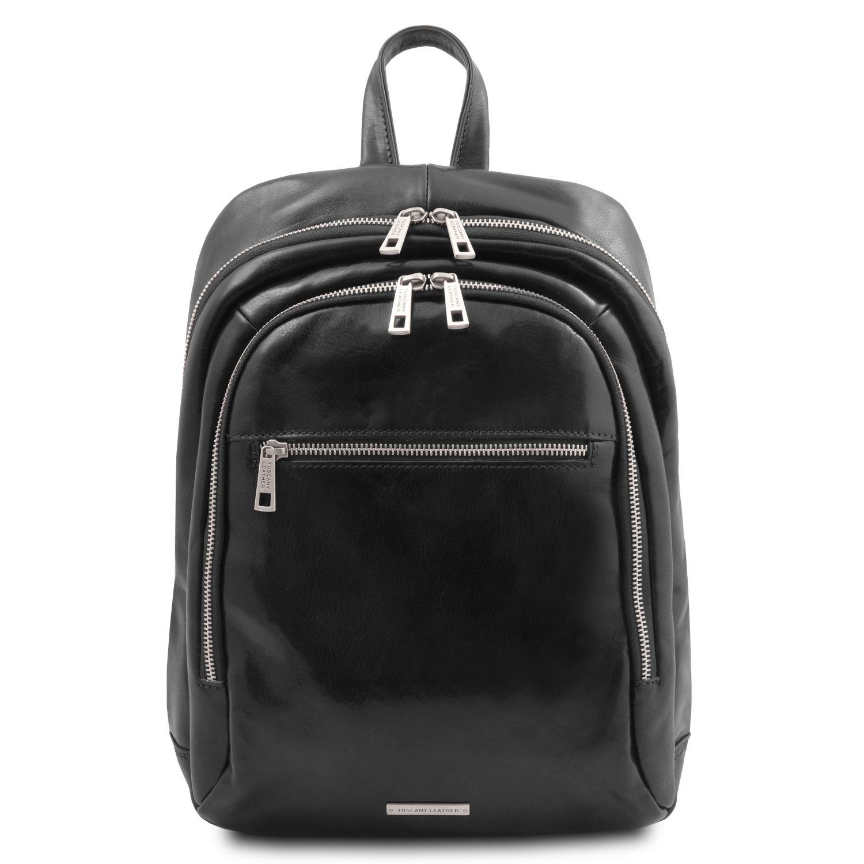 Perth - Kožený batoh se 2 přihrádkami - Černá barva