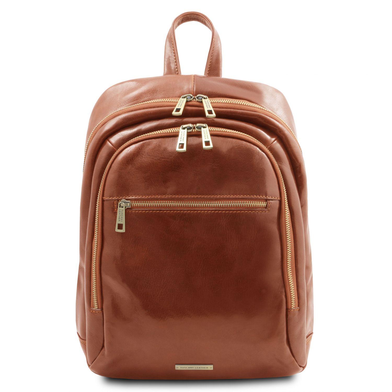 Perth - Kožený batoh se 2 přihrádkami - Světle hnědá barva