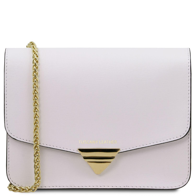 TL Bag - Psaníčko z kůže Saffiano s řetízkovým popruhem - Bílá barva