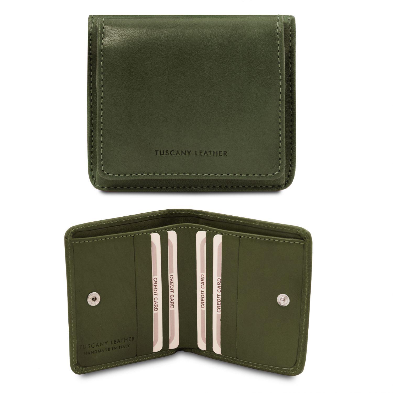 Exkluzivní kožená peněženka s kapsou na mince - Zelená barva