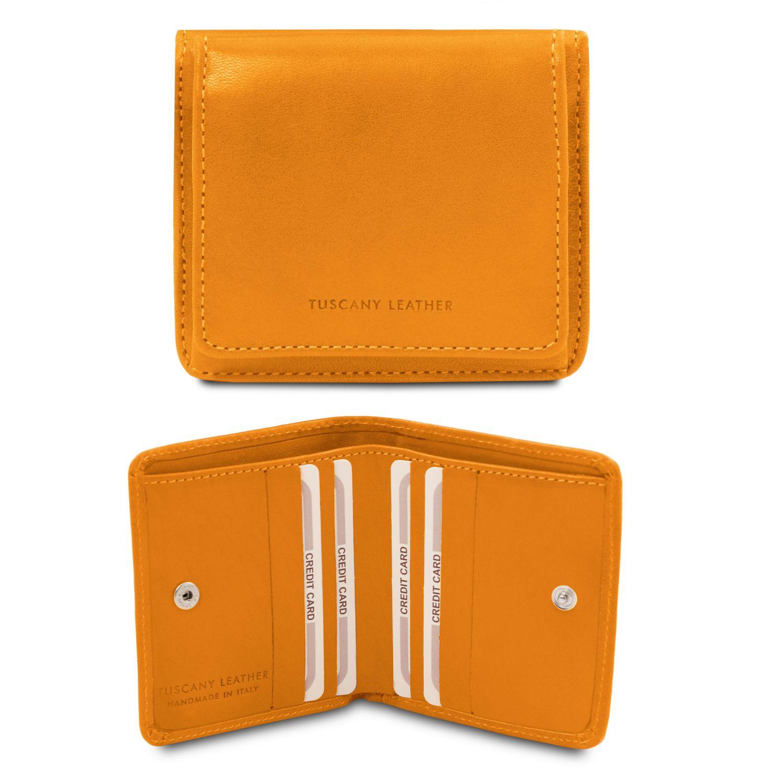 Exkluzivní kožená peněženka s kapsou na mince - Žlutá barva