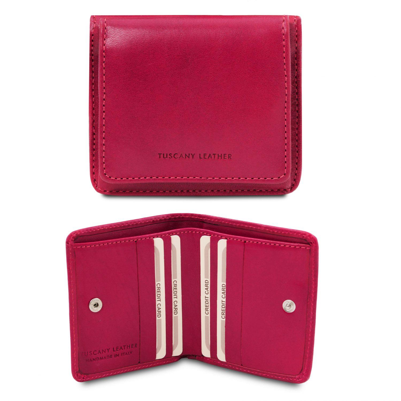 Exkluzivní kožená peněženka s kapsou na mince - Fuchsie barva