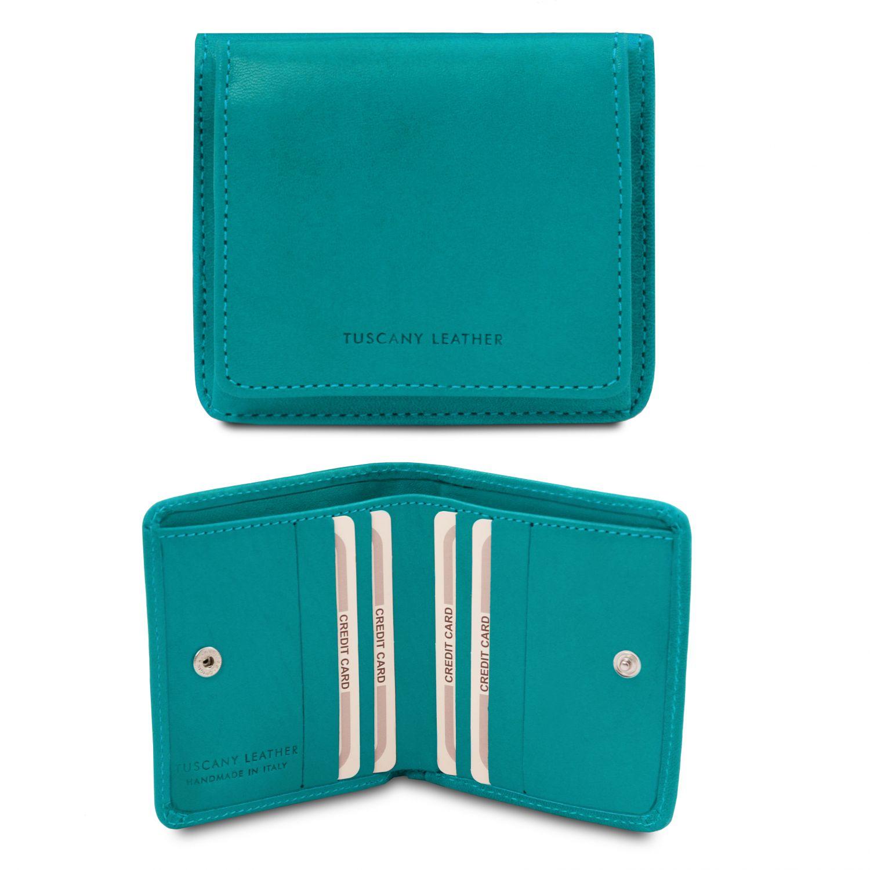 Exkluzivní kožená peněženka s kapsou na mince - Tyrkysová barva