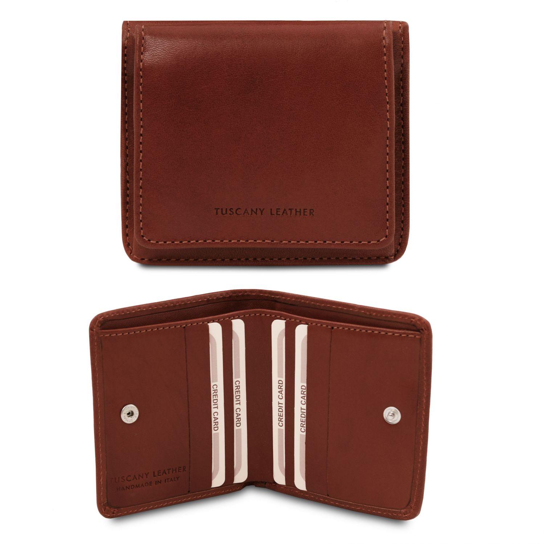 Exkluzivní kožená peněženka s kapsou na mince - Hnědá barva