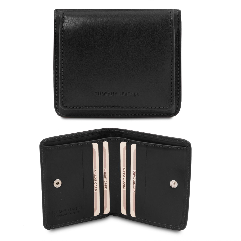 Exkluzivní kožená peněženka s kapsou na mince - Černá barva