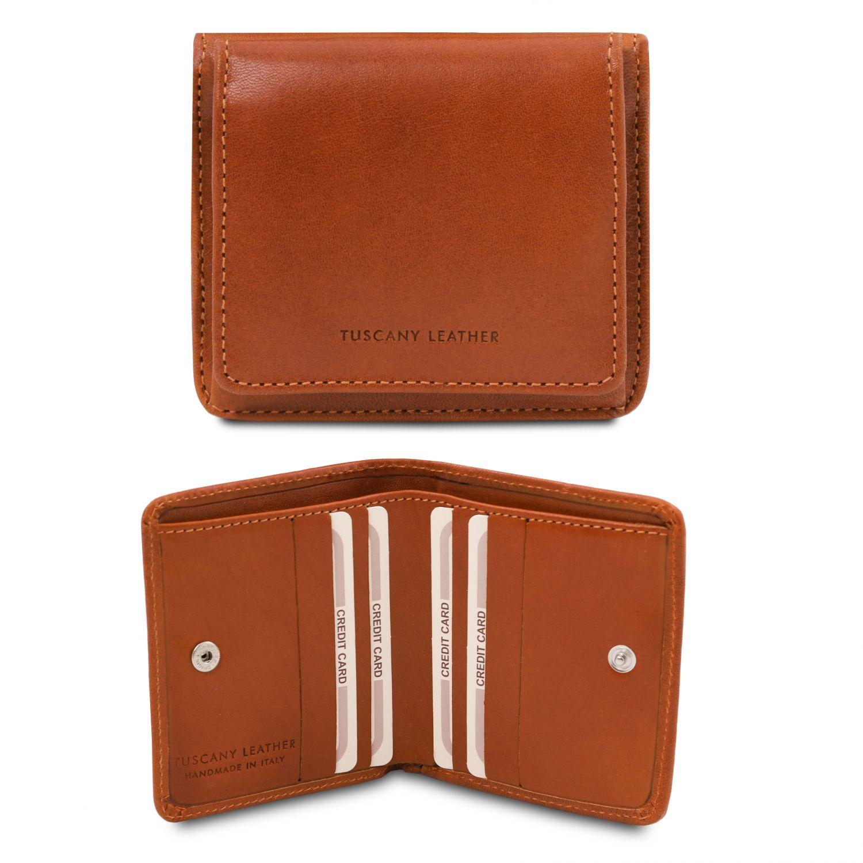 Exkluzivní kožená peněženka s kapsou na mince - Světle hnědá barva
