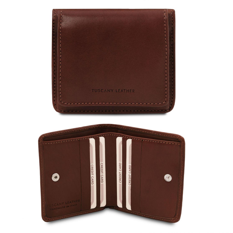 Exkluzivní kožená peněženka s kapsou na mince - Tmavě hnědá barva