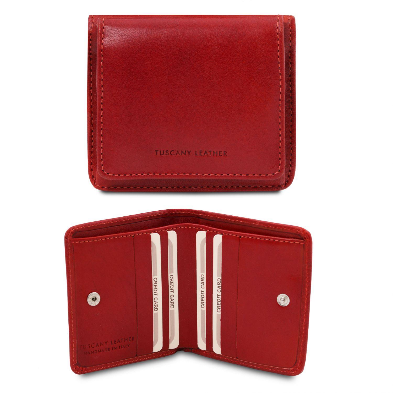 Exkluzivní kožená peněženka s kapsou na mince - Červená barva