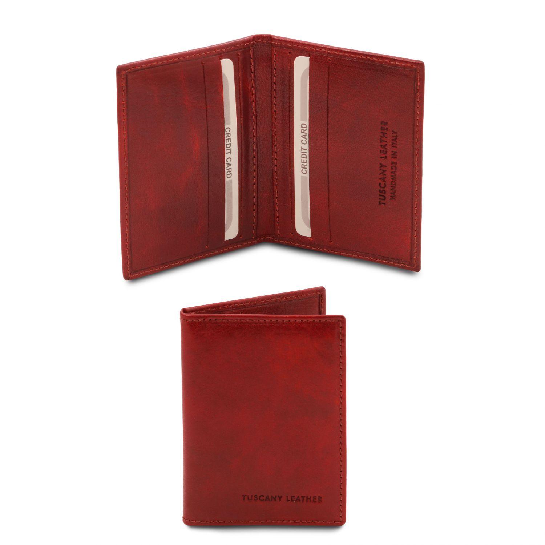 Exkluzivní kožené pouzdro na karty - Červená barva