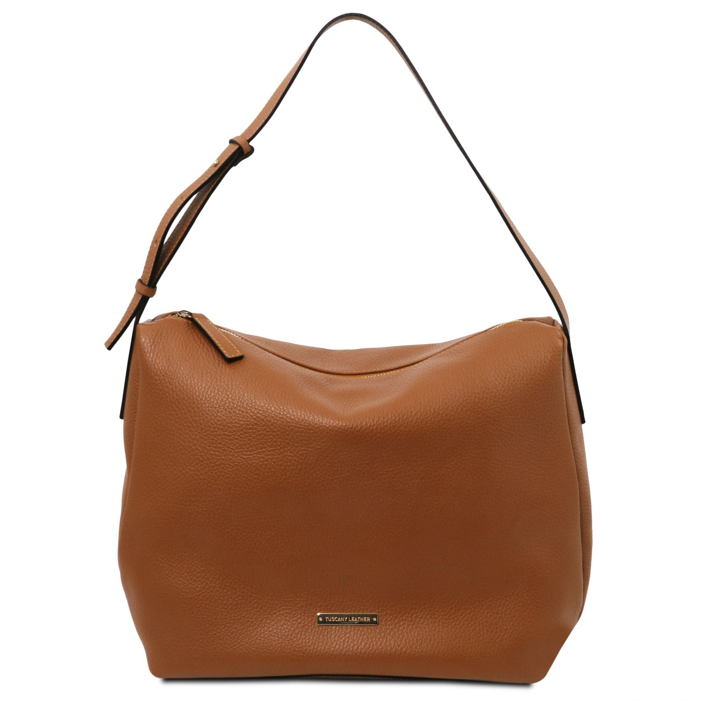 TL Bag - Hobo taška z měkké kůže - Koňaková barva