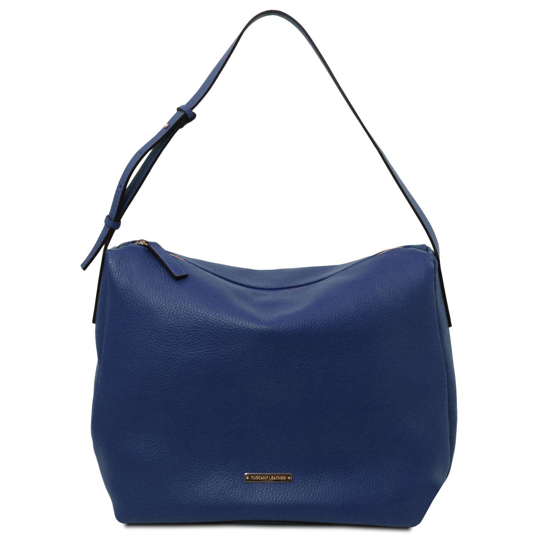 TL Bag - Hobo taška z měkké kůže - Tmavě modrá barva