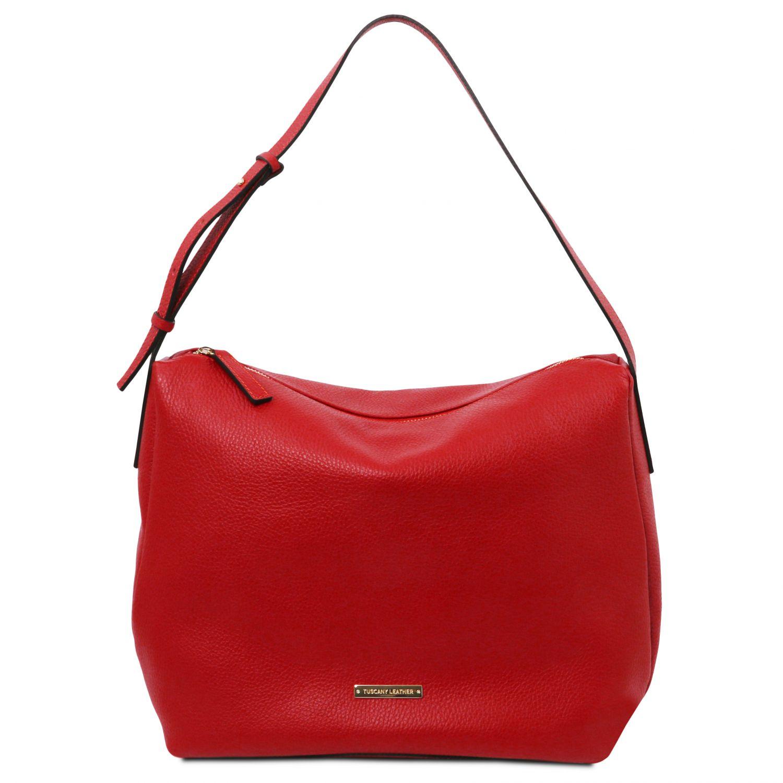 TL Bag - Hobo taška z měkké kůže - Rtěnková červená barva