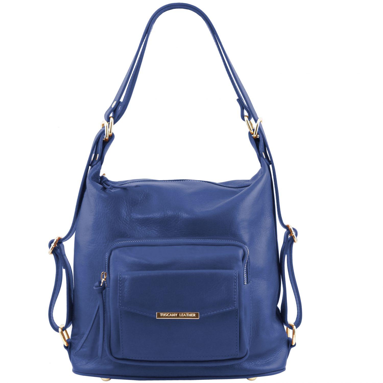TL Bag - Kožená variabilní taška s kombinovaným nošením - Modrá barva