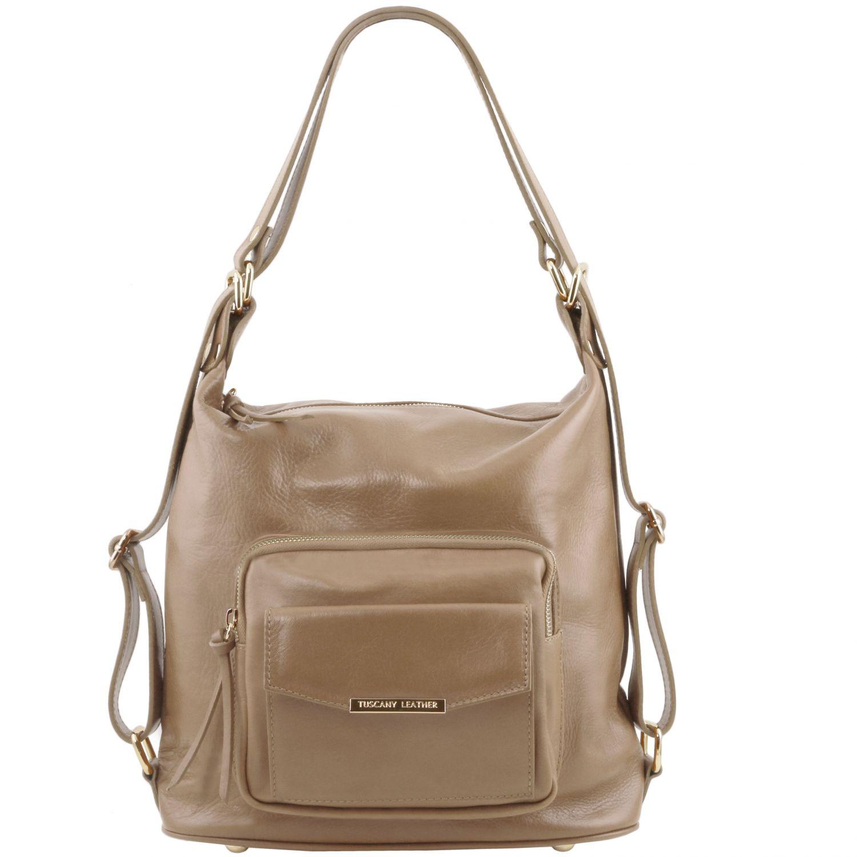 TL Bag - Kožená variabilní taška s kombinovaným nošením - Světle hnědošedá barva