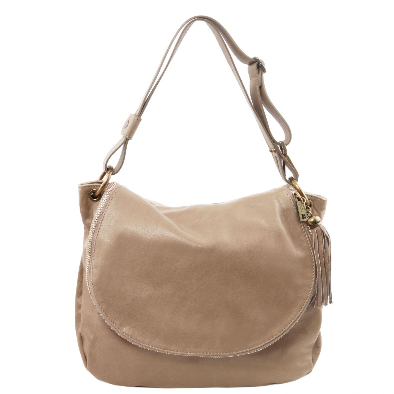 TL Bag - Taška přes rameno z měkké kůže se střapcem - Světle hnědošedá barva