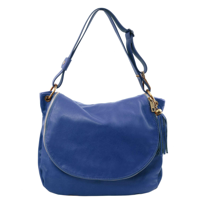TL Bag - Taška přes rameno z měkké kůže se střapcem - Modrá barva