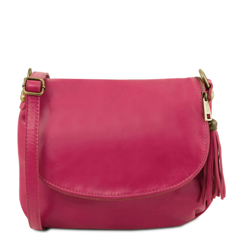 TL Bag - Taška přes rameno z měkké kůže se střapcem - Fuchsie barva