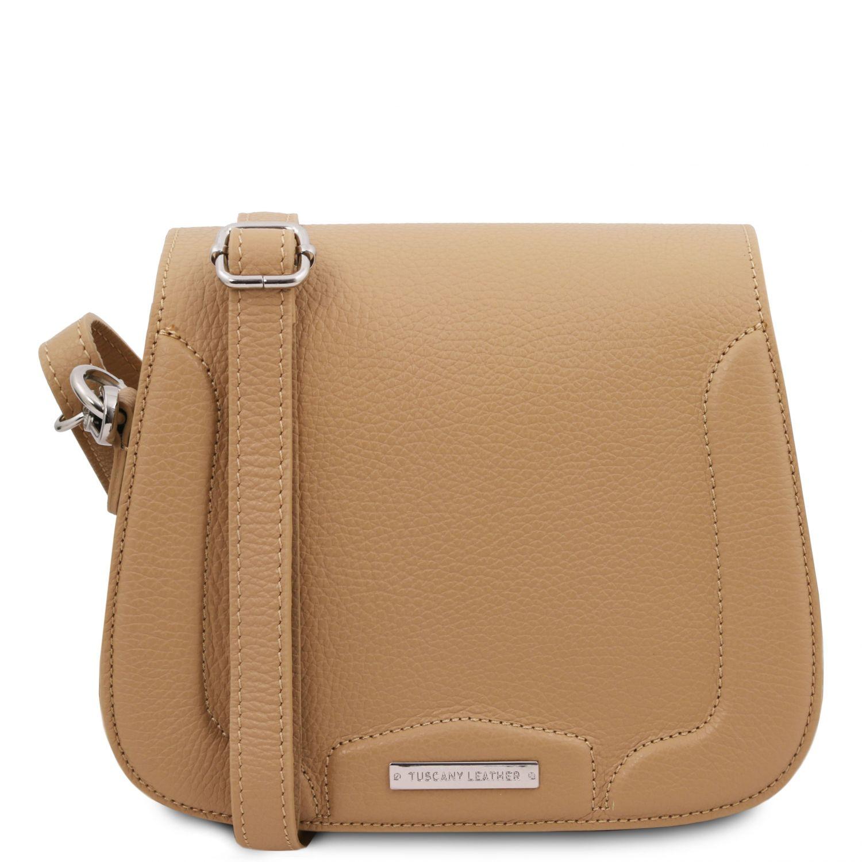 Jasmine - Kožená taška přes rameno - Starorůžová barva