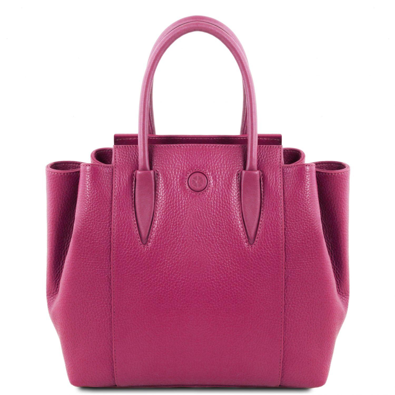 Tulipan - Kožená kabelka do ruky - Fuchsie barva