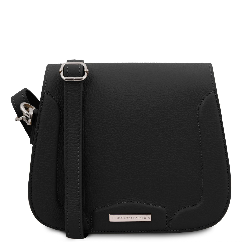 Jasmine - Kožená taška přes rameno - Černá barva