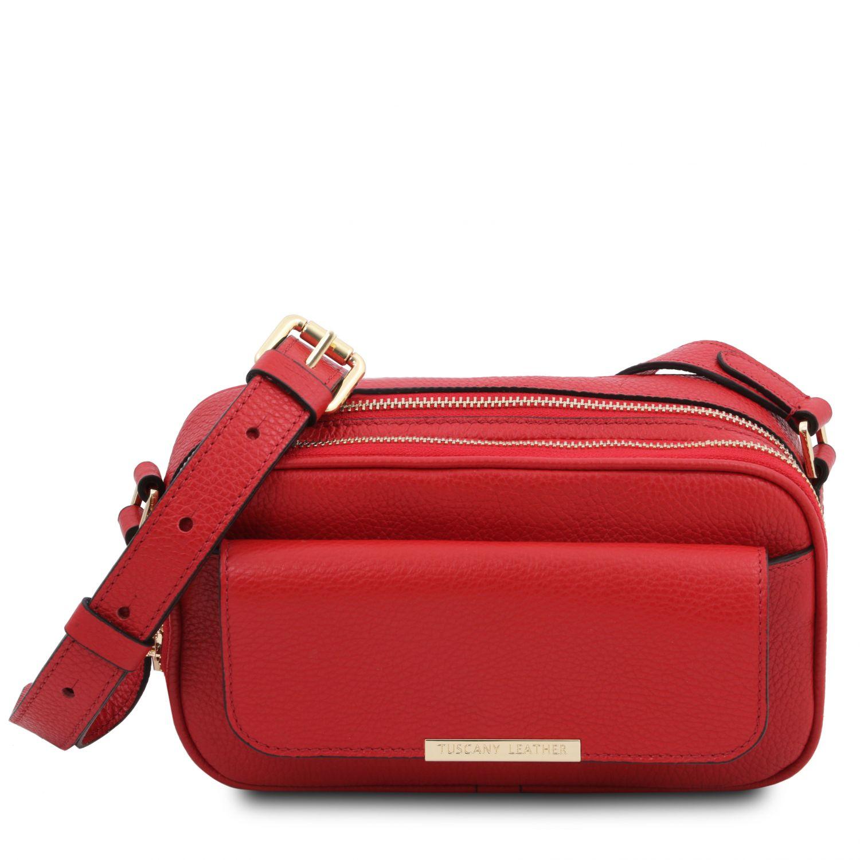 TL Bag - Kožená taška na fotoaparát - Rtěnková červená barva