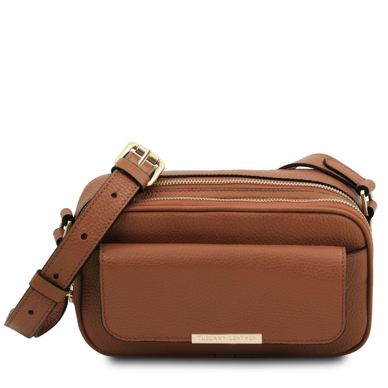 TL Bag - Kožená taška na fotoaparát - Koňaková barva