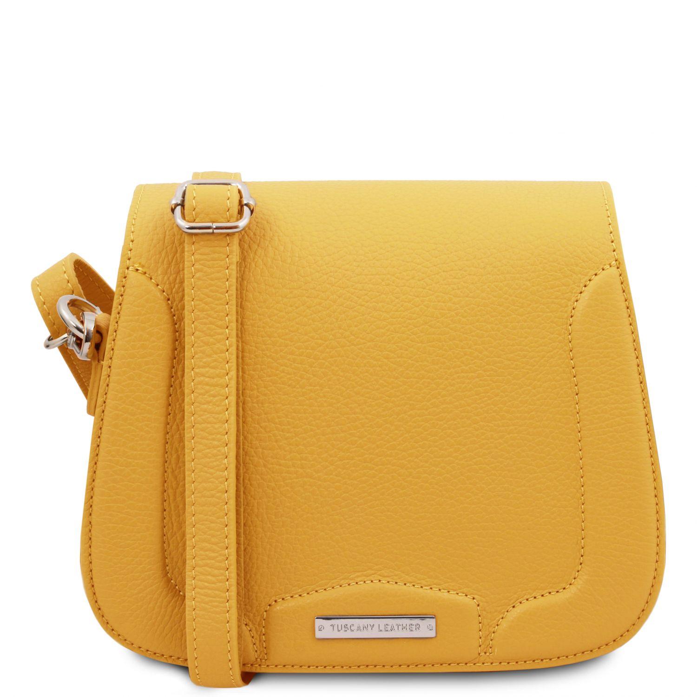 Jasmine - Kožená taška přes rameno - Žlutá barva