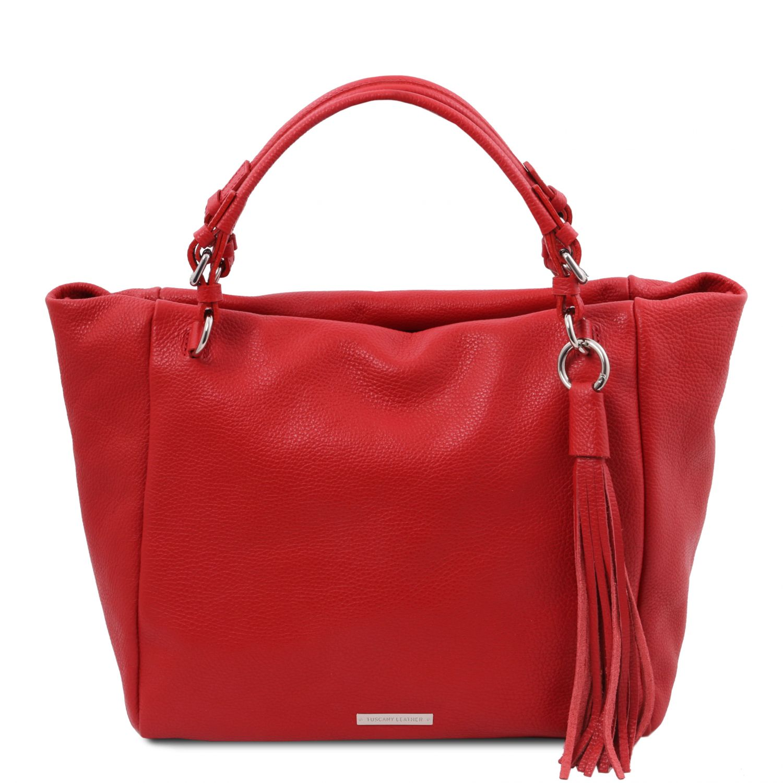 TL Bag - Nákupní taška z měkké kůže - Rtěnková červená barva