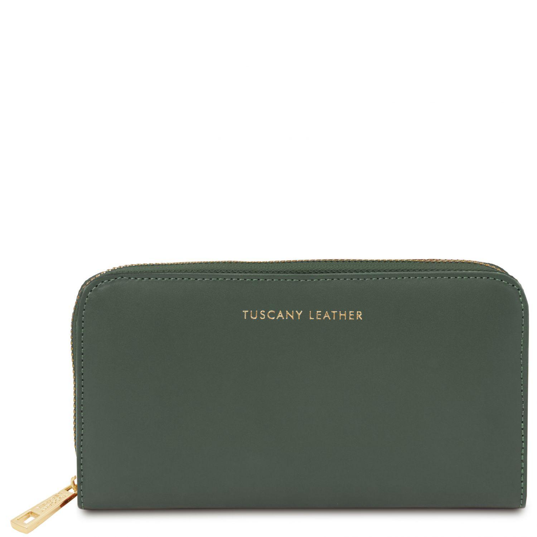 Venere - Exkluzivní kožená harmoniková peněženka se zapínáním na zip - Lesní zelená barva