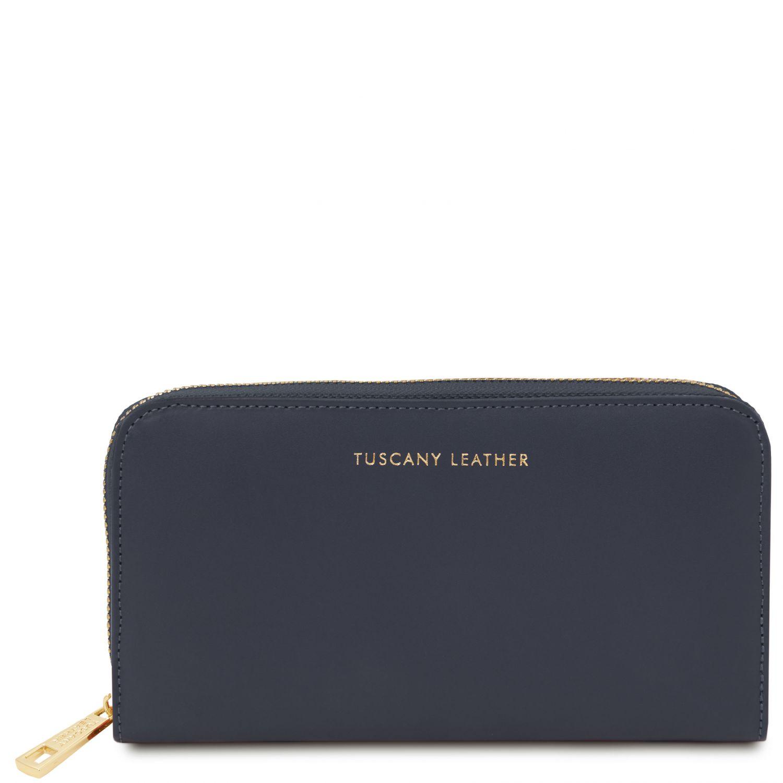 Venere - Exkluzivní kožená harmoniková peněženka se zapínáním na zip - Tmavě modrá barva
