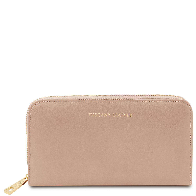 Venere - Exkluzivní kožená harmoniková peněženka se zapínáním na zip - Starorůžová barva