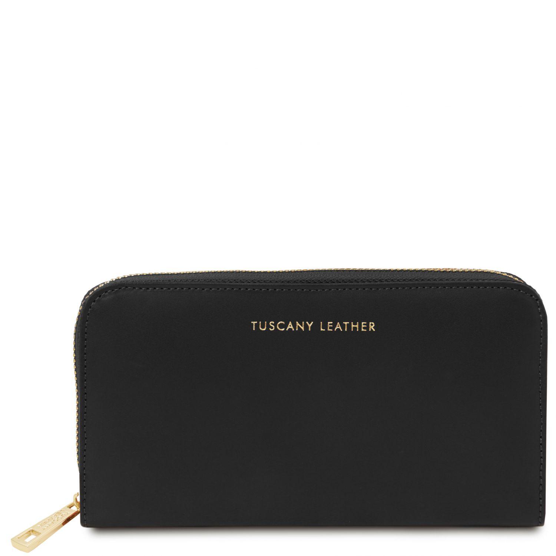 Venere - Exkluzivní kožená harmoniková peněženka se zapínáním na zip - Černá barva