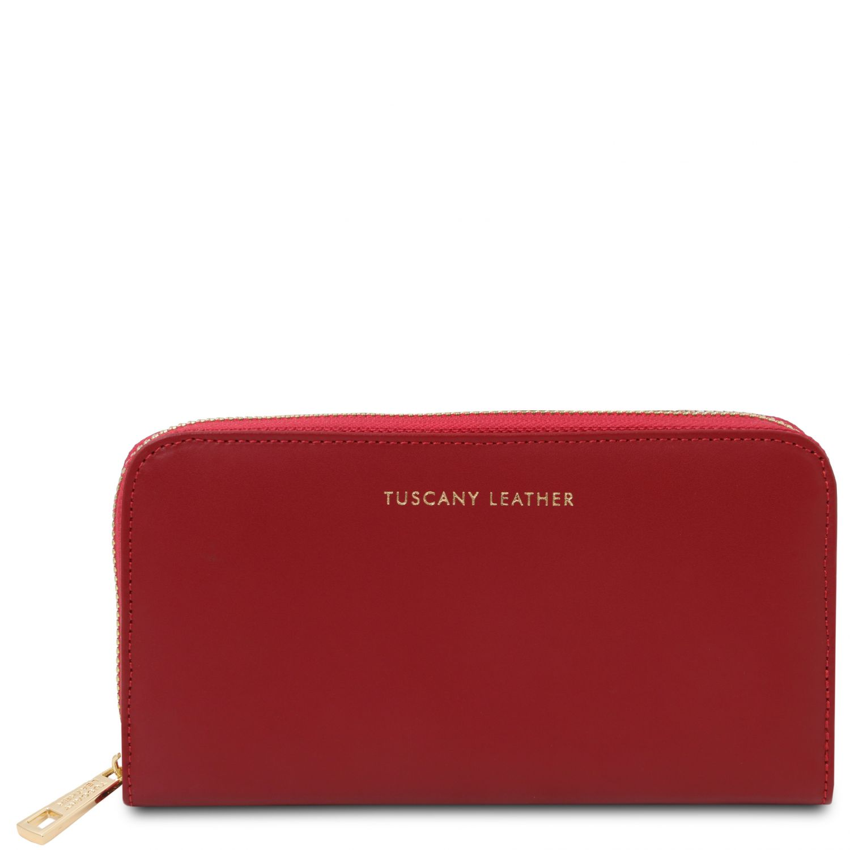 Venere - Exkluzivní kožená harmoniková peněženka se zapínáním na zip - Červená barva