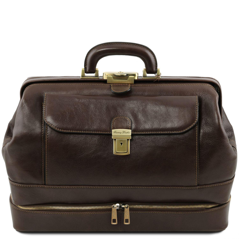 Giotto - Exkluzivní kožená doktorská taška s dvojitým dnem - Tmavě hnědá barva