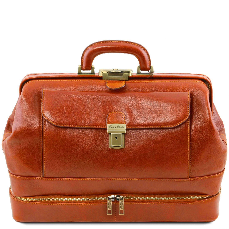 Giotto - Exkluzivní kožená doktorská taška s dvojitým dnem - Světle hnědá barva