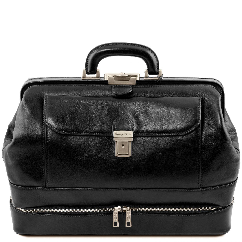 Giotto - Exkluzivní kožená doktorská taška s dvojitým dnem - Černá barva